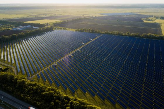 Aerial,Top,View,Of,A,Solar,Panels,Power,Plant.,Modern